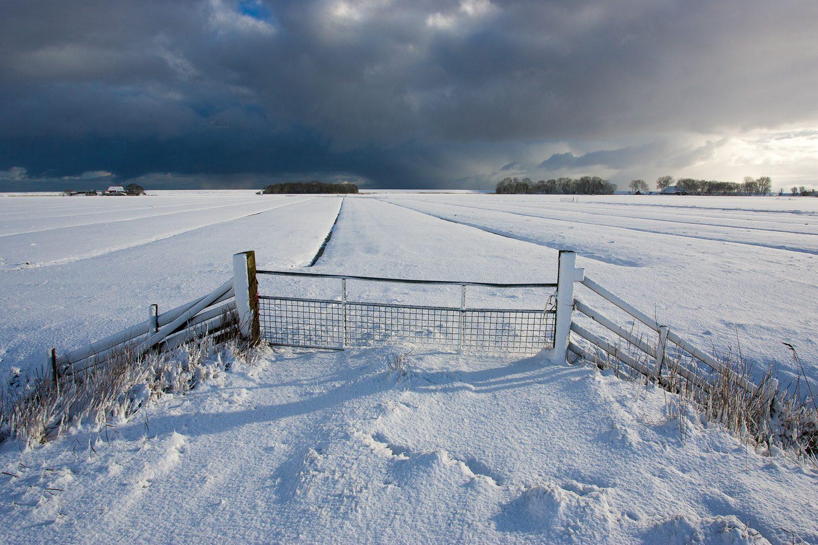 winterlandschappen fotograferen - Donkere sneeuw wolken boven een winters landschap in Friesland