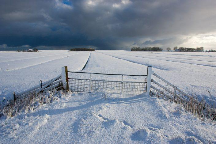 Donkere sneeuw wolken boven een winters landschap in Friesland