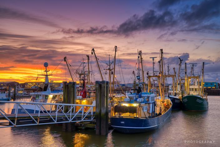 The harbour of Lauwersoog on an early Monday morning before the ships head out to sea.