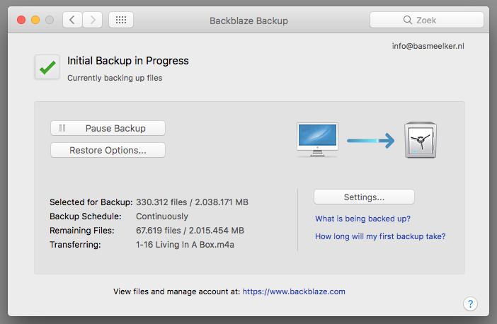 Backblaze werkt eenvoudig en geruisloos op de achtergrond. De software is simpel en duidelijk en je kunt gemakkelijk zien wat er gebeurt, wat de status van de back-up is en wat er geback-upt wordt.