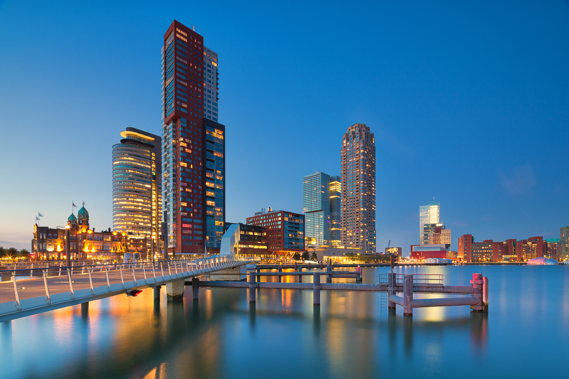 A dramatic citycape of skyscrapers in Rotterdam, The Netherlands