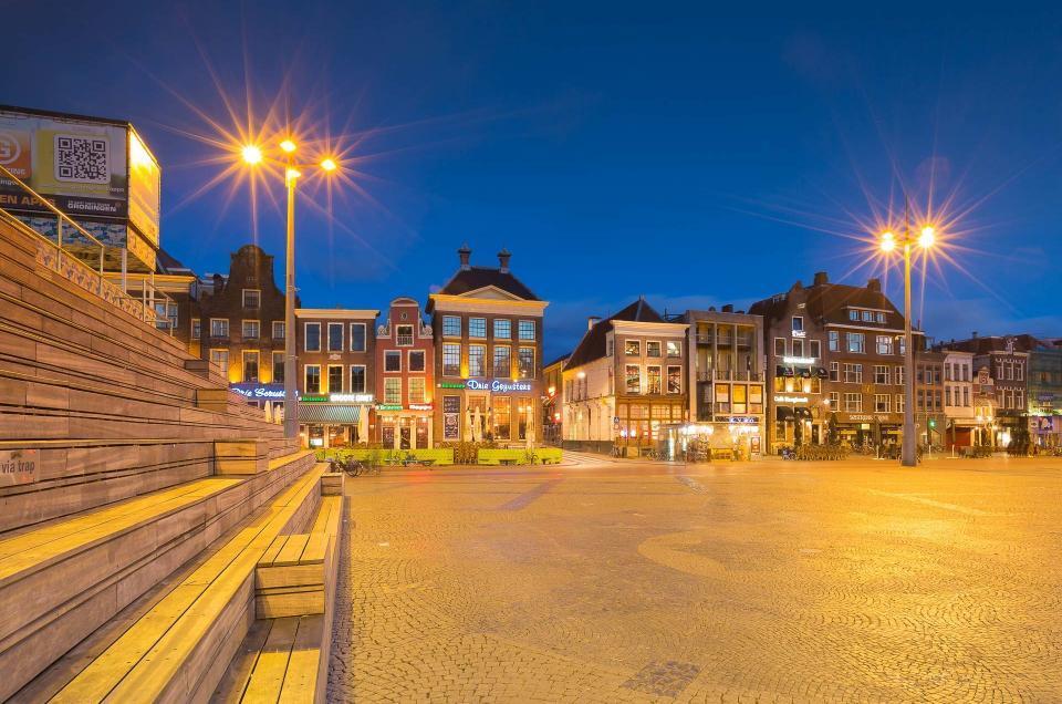 Foto Grote Markt Groningen nacht