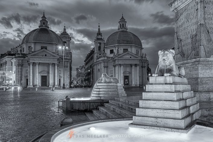 Piazza del Popolo (People's Square) named after the church of Santa Maria del Popolo in Rome, Italy