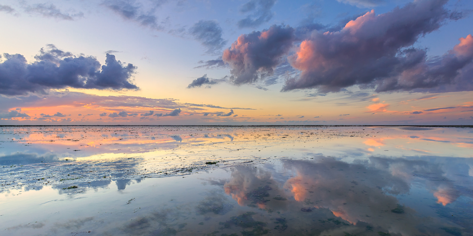 A tranquil and calm sunset at low tide over the Wadden Sea near Ternaard, Friesland, The Netherlands
