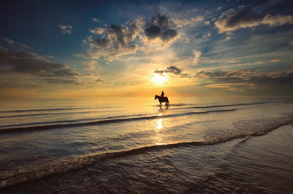 Een ruiter n de branding op het strand tijdens zonsondergang - Camperduin