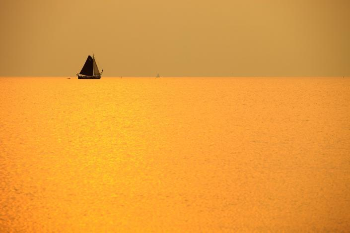 Sailing in a golden sunset - Netherlands