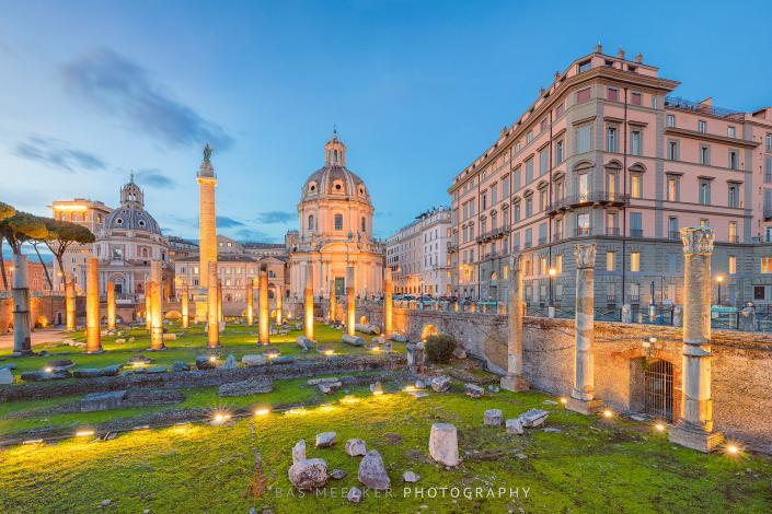 The Ruins of Roman's forum in Rome with a beautiful colorful sky in the background - Rome, Italy - Travel image