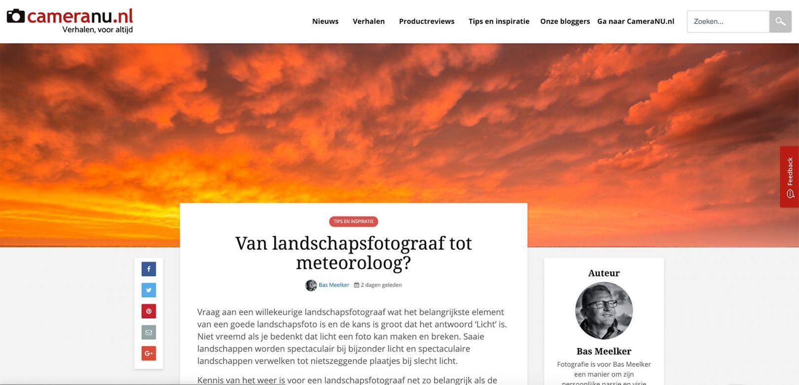 Blok bas Meelker op CameraNU.nl over landschapsfotografie en het weer