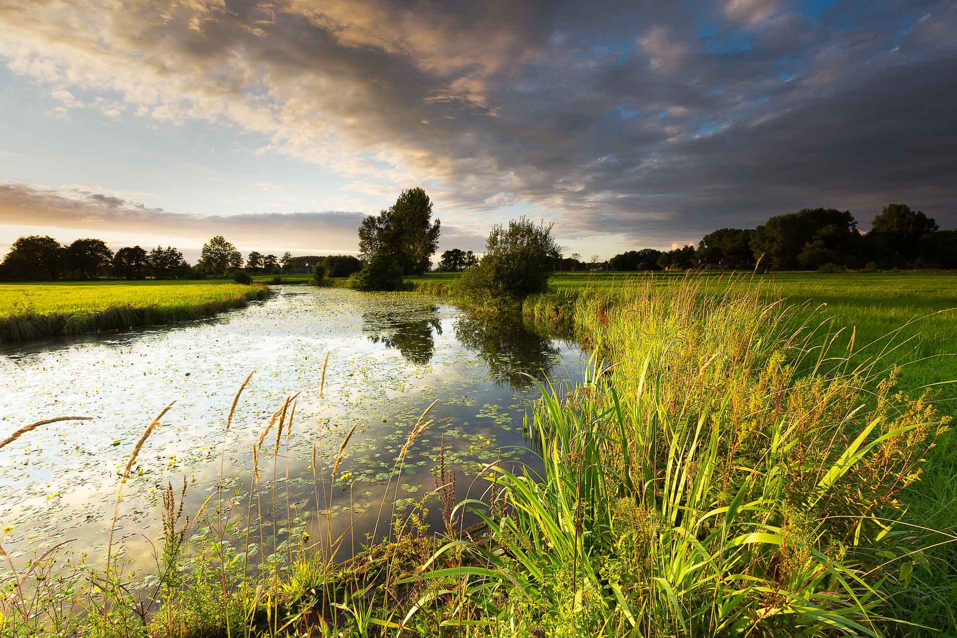 Sunset at the river Reest near Meppel, The Netherlands