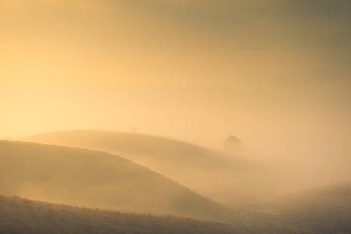 Mist boven de Posbank op een herfstochtend