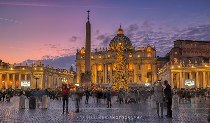 Saint Peter's Square in Rome on a beautiful December evening at dusk - Rome, Italy