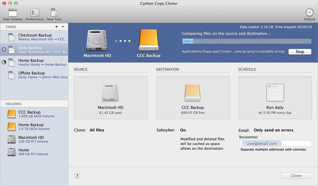 Carbon Copy Cloner software